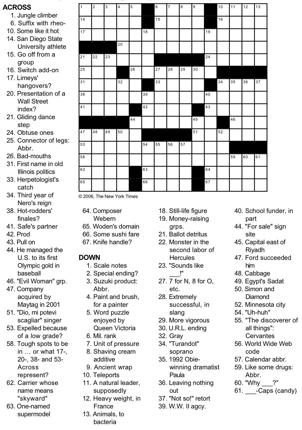 Printable Crossword Puzzles New York Times
