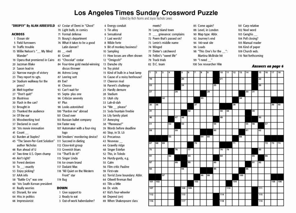 New York Times Sunday Crossword Puzzle Printable
