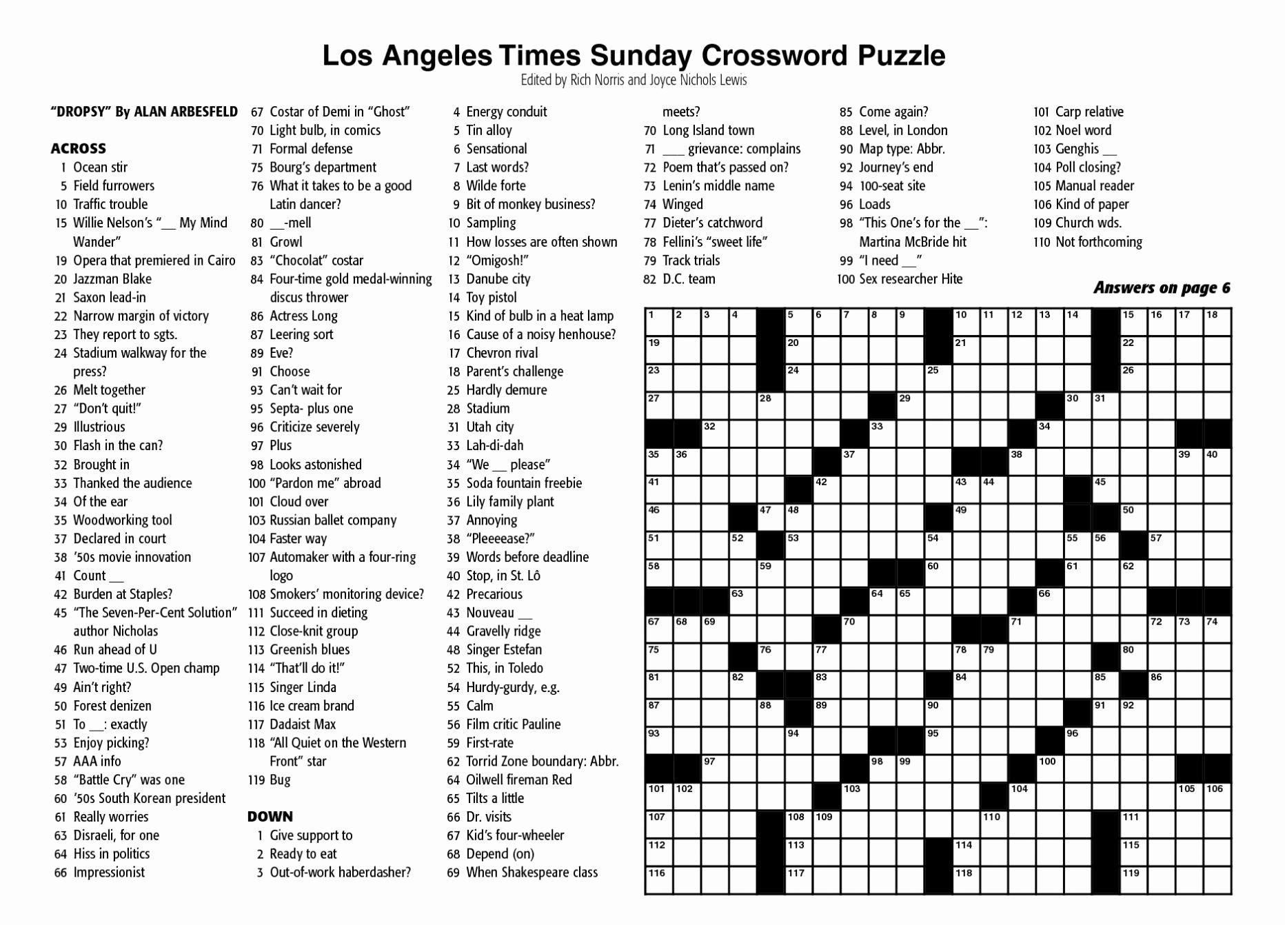 Printable Free New York Times Sunday Crossword Printable