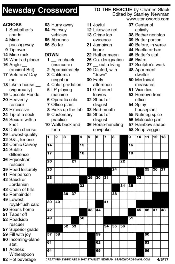 Newsday Crossword Puzzle For Jun 07 2018 Stanley Newman