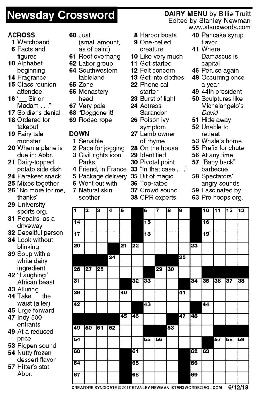 Free Printable Crossword Puzzles 2018