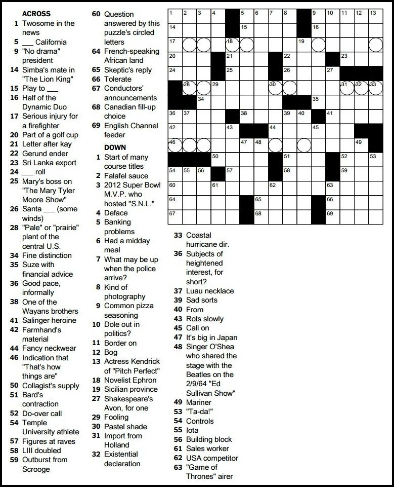 Free Printable New York Times Crossword Puzzles