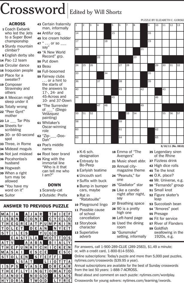 Free Nyt Crossword Printable