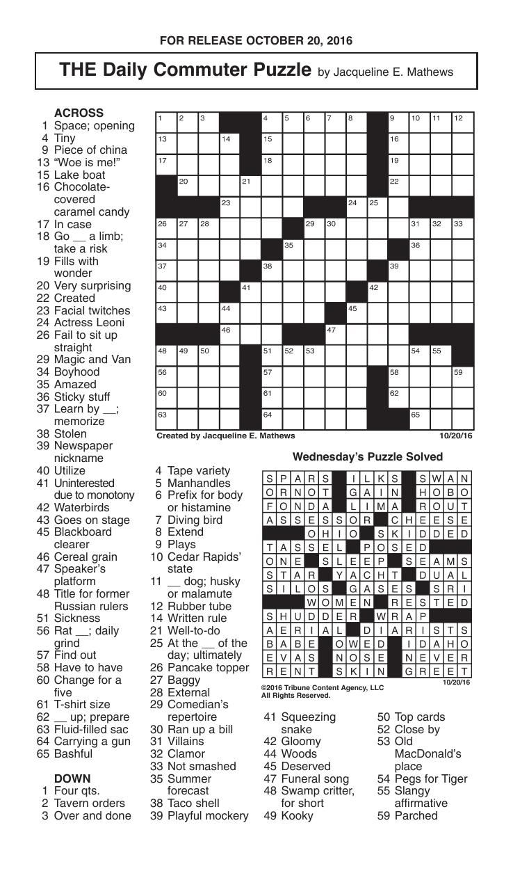Free Printable Daily Commuter Crossword