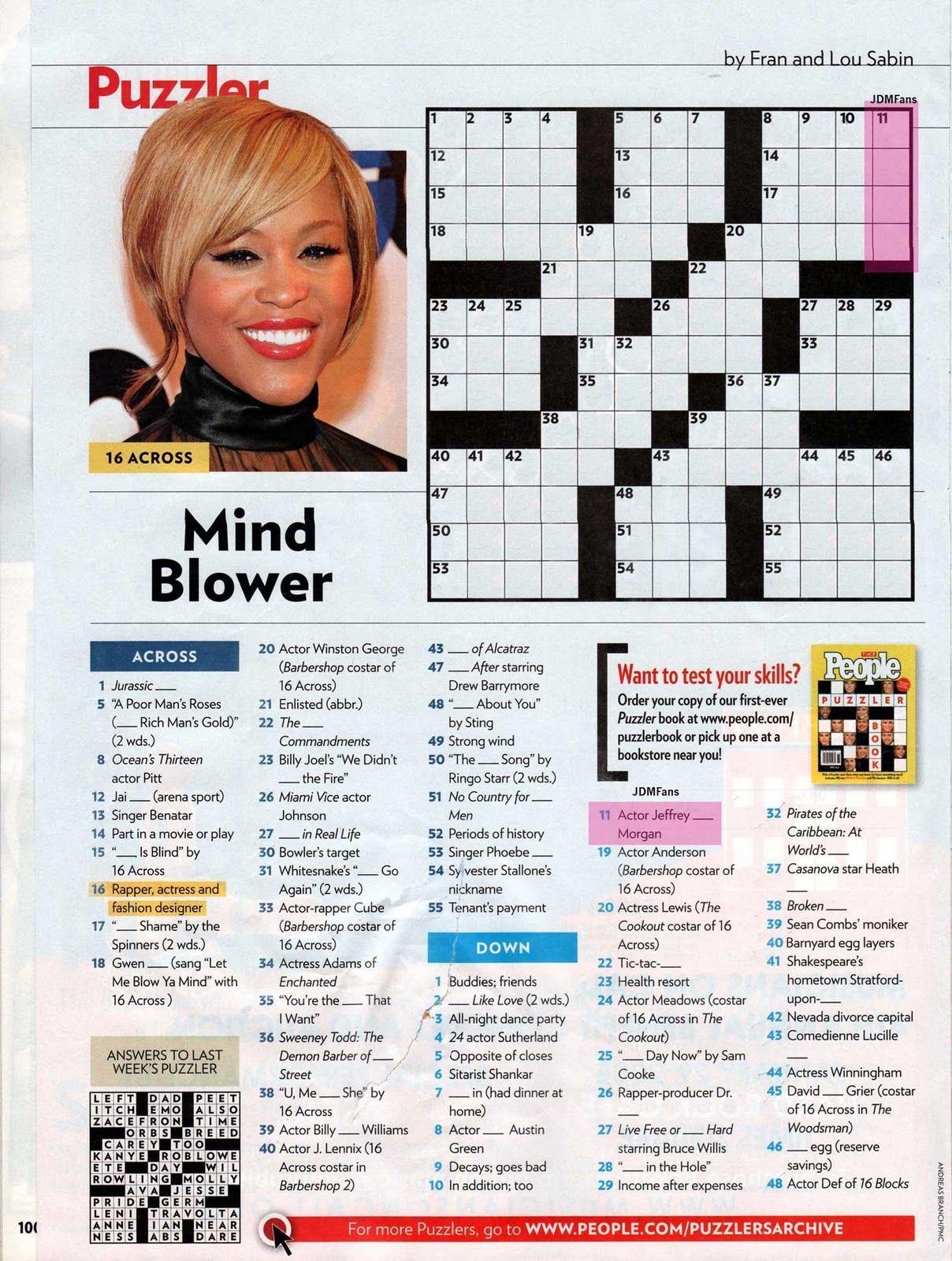 Free Printable People Magazine Crossword Puzzles