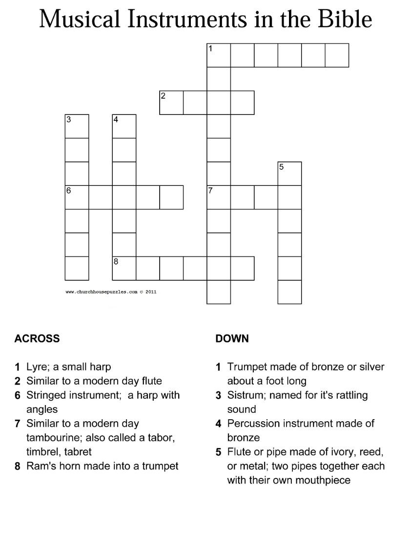 Printable Bible Crossword Puzzles For Youth