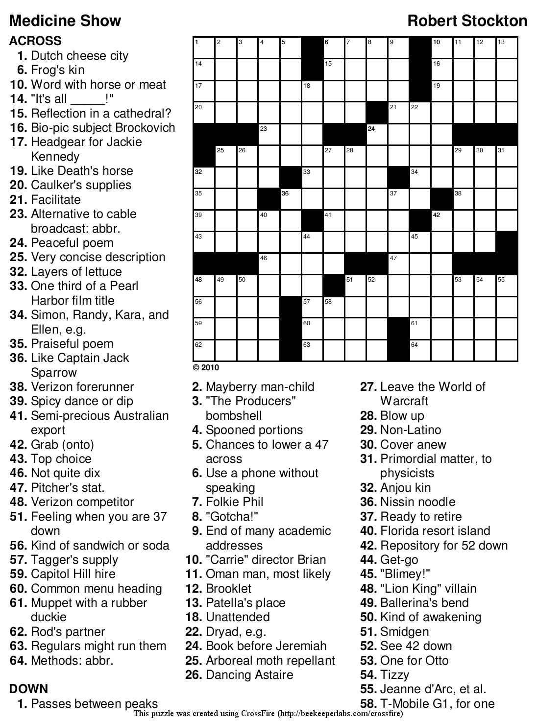 Printable Crossword Puzzles And Solutions