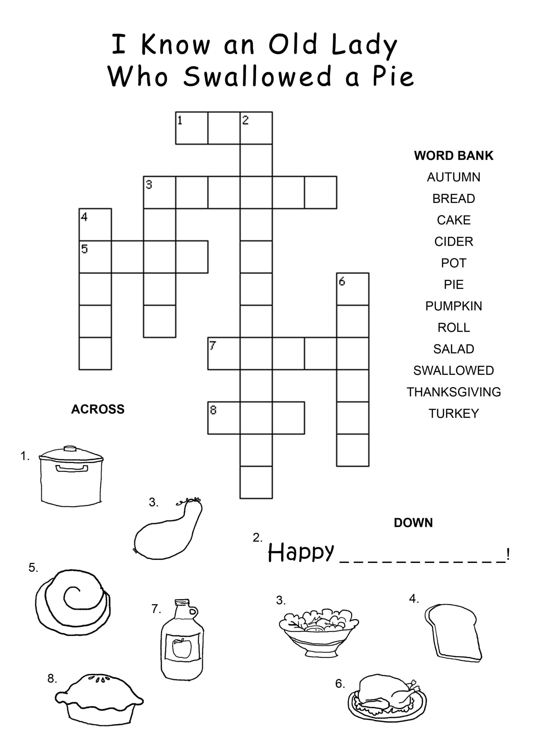 Printable Crossword Puzzles For 5 Year Olds
