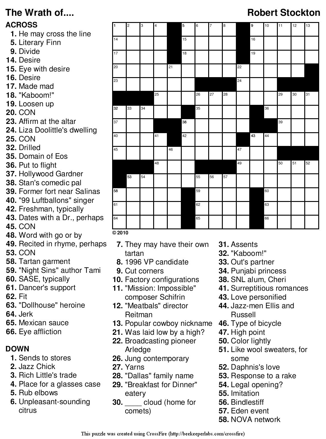 Printable Crossword For High School