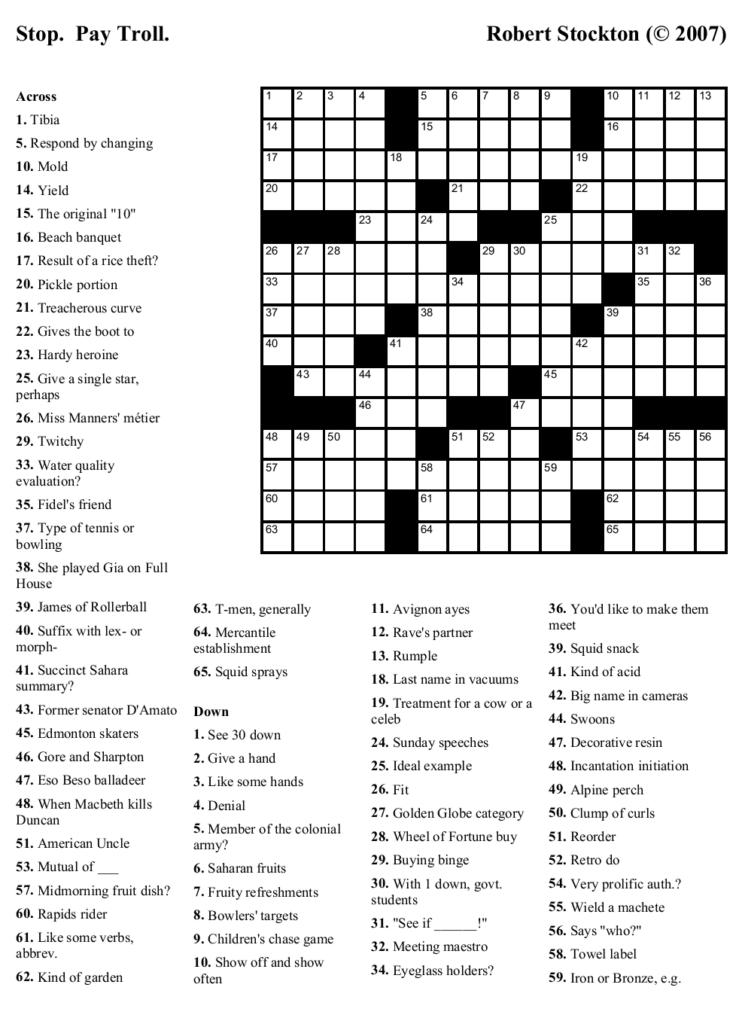 Printable Crosswords For High School Students Printable