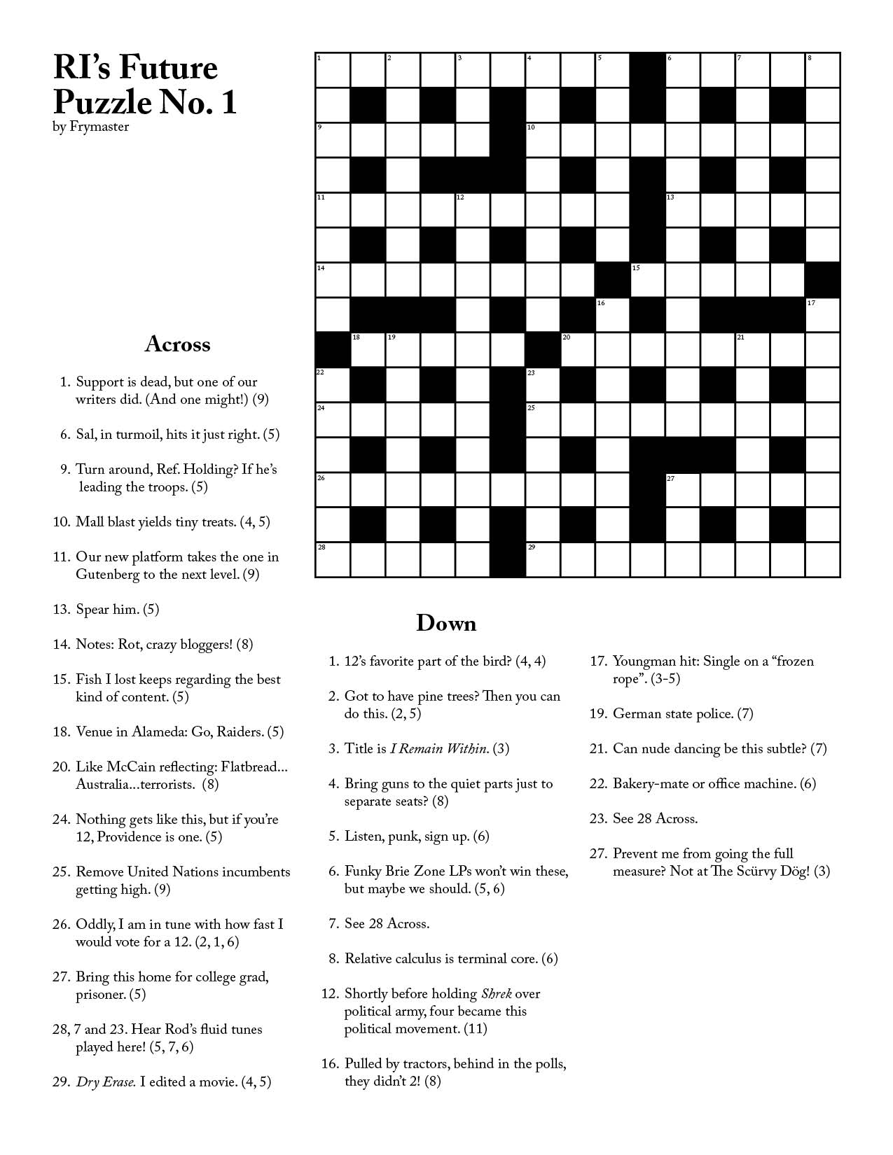 Printable Cryptic Crossword Puzzles