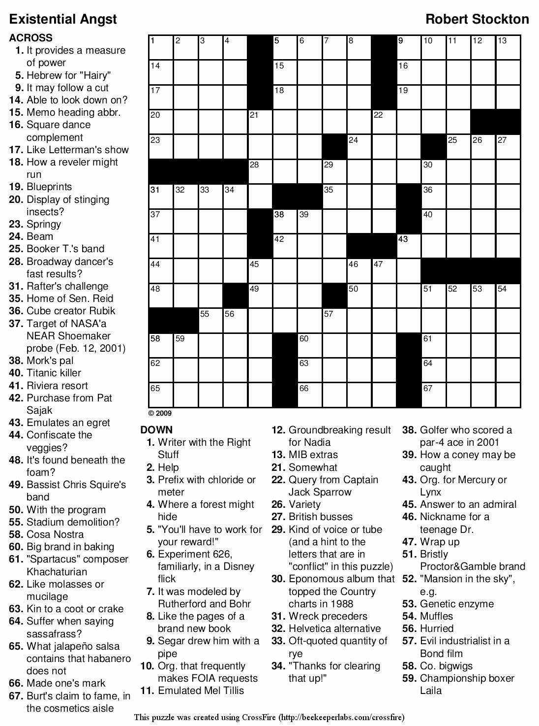 Printable Hard Crossword Puzzles