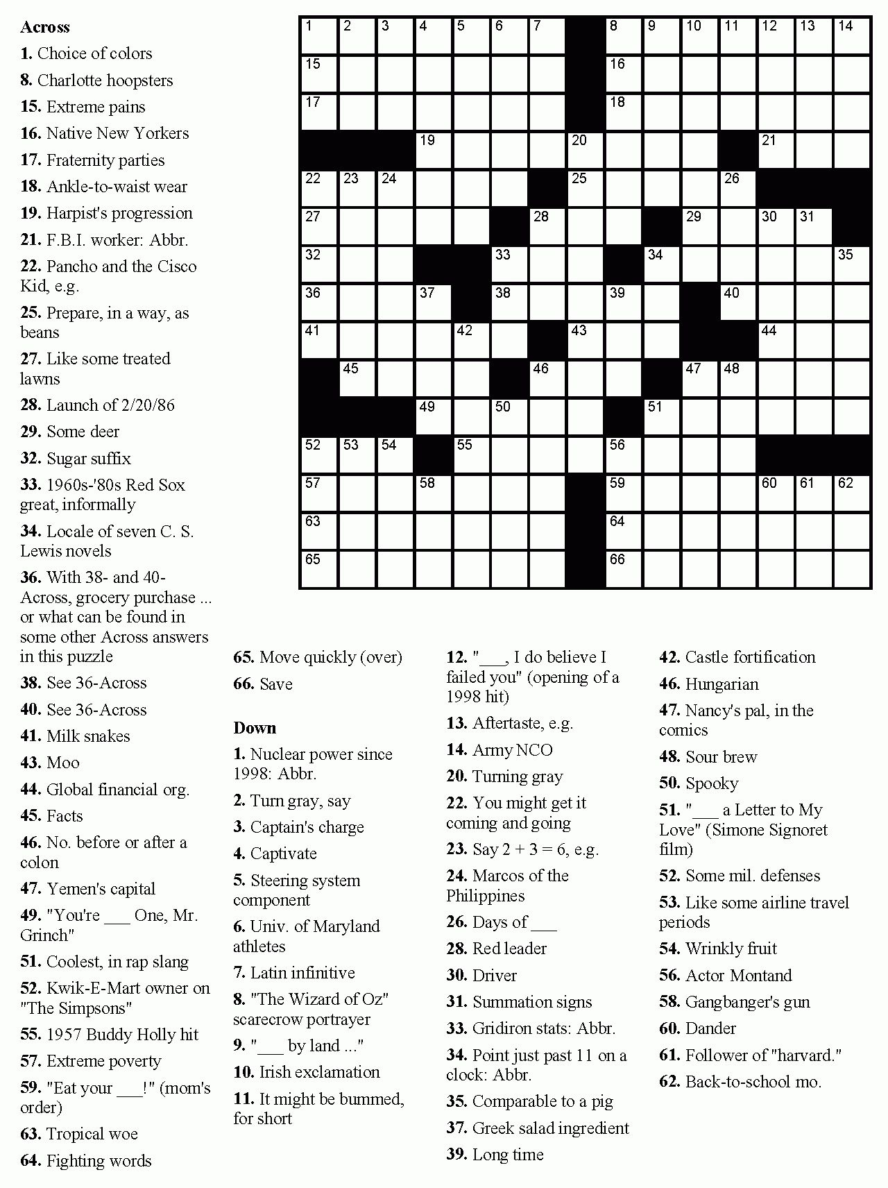 Printable Uk Crossword Puzzles Pdf