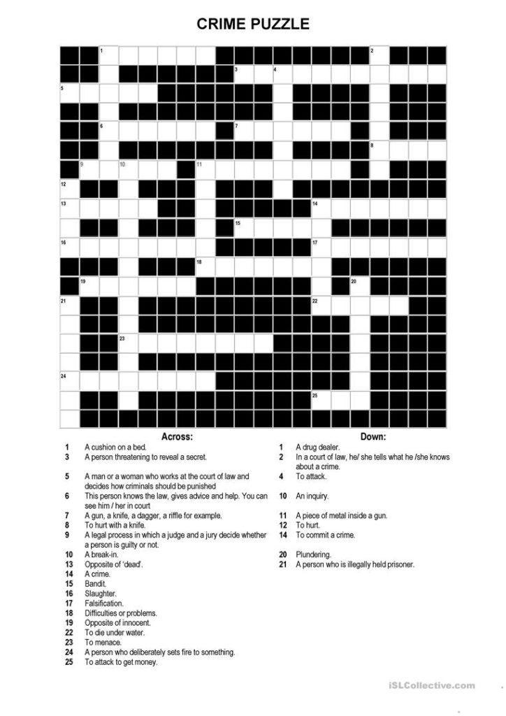Printable Intermediate Crossword Puzzles Printable