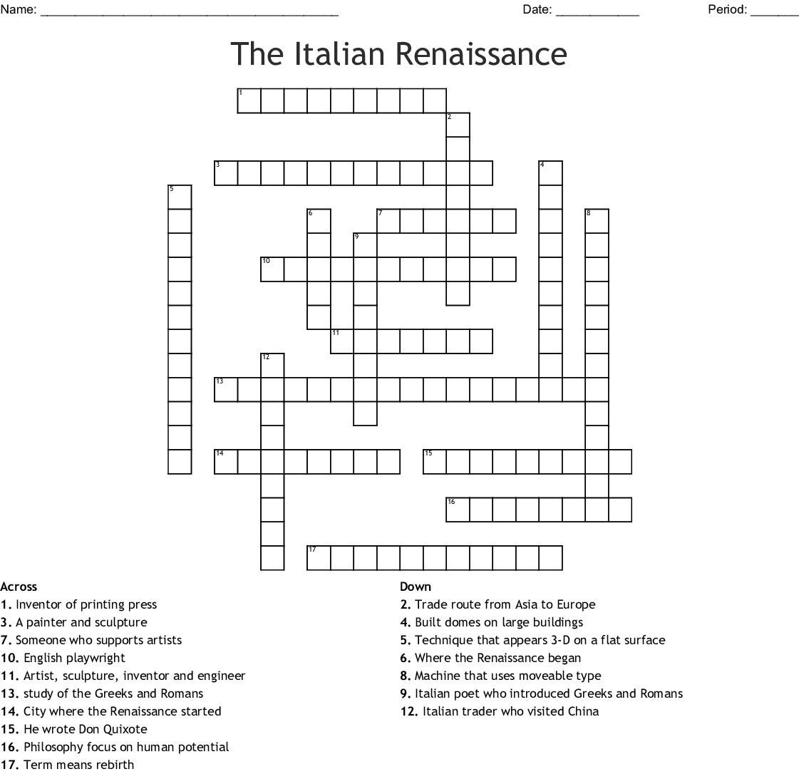 Printable Italian Crossword Puzzles