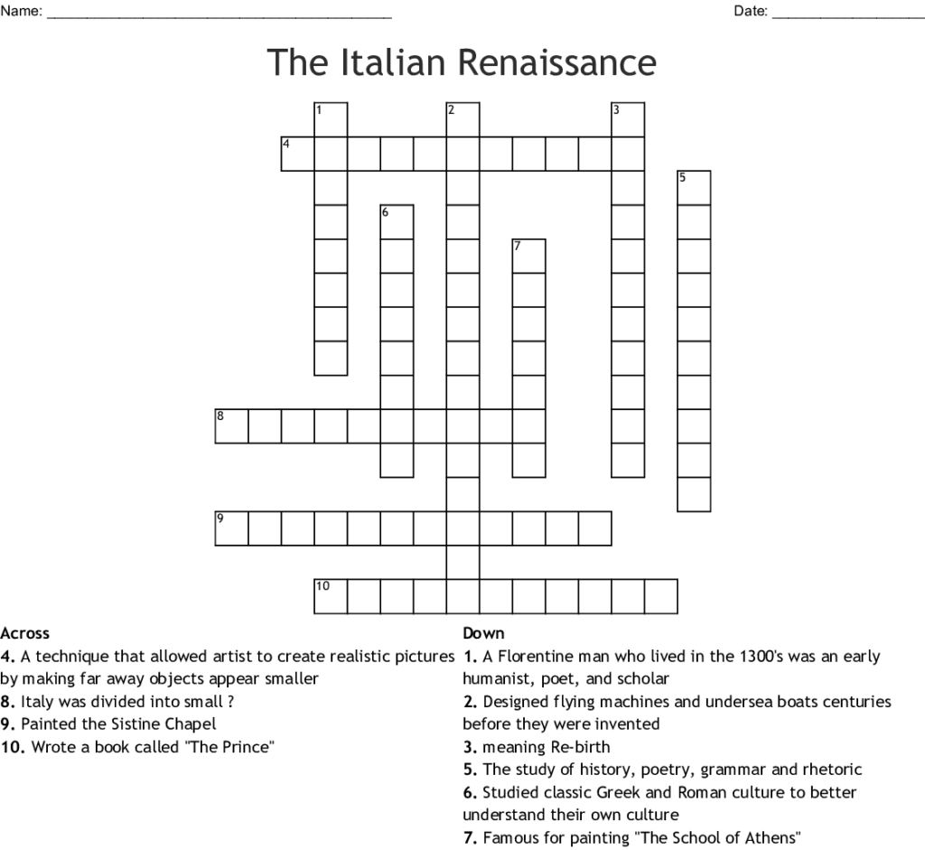 Printable Italian Crossword Puzzles Printable Crossword