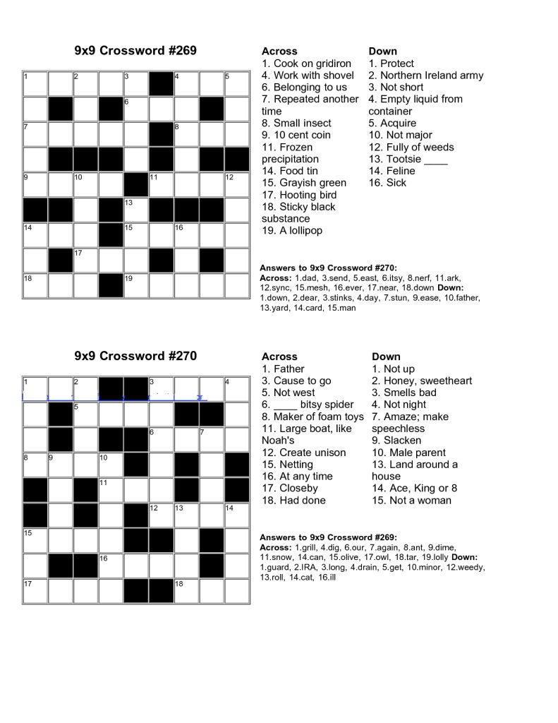 Printable Junior Crossword Puzzles