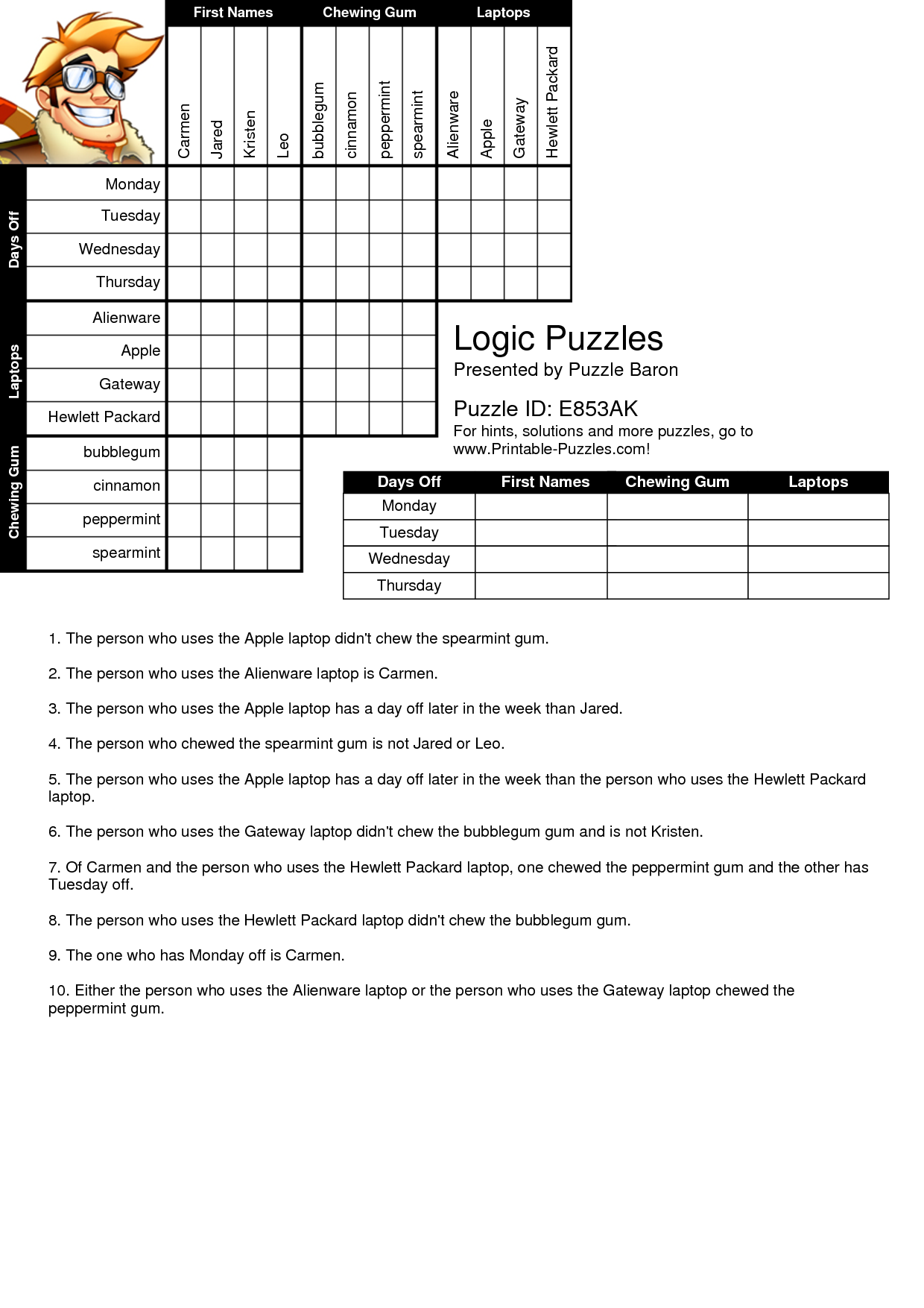 Free Printable Logic Puzzles With Solutions