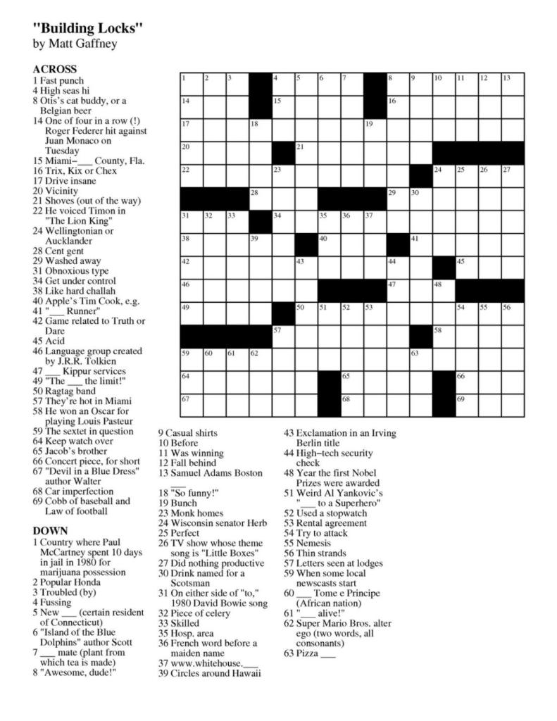 Printable Puzzles Online Printable Crossword Puzzles