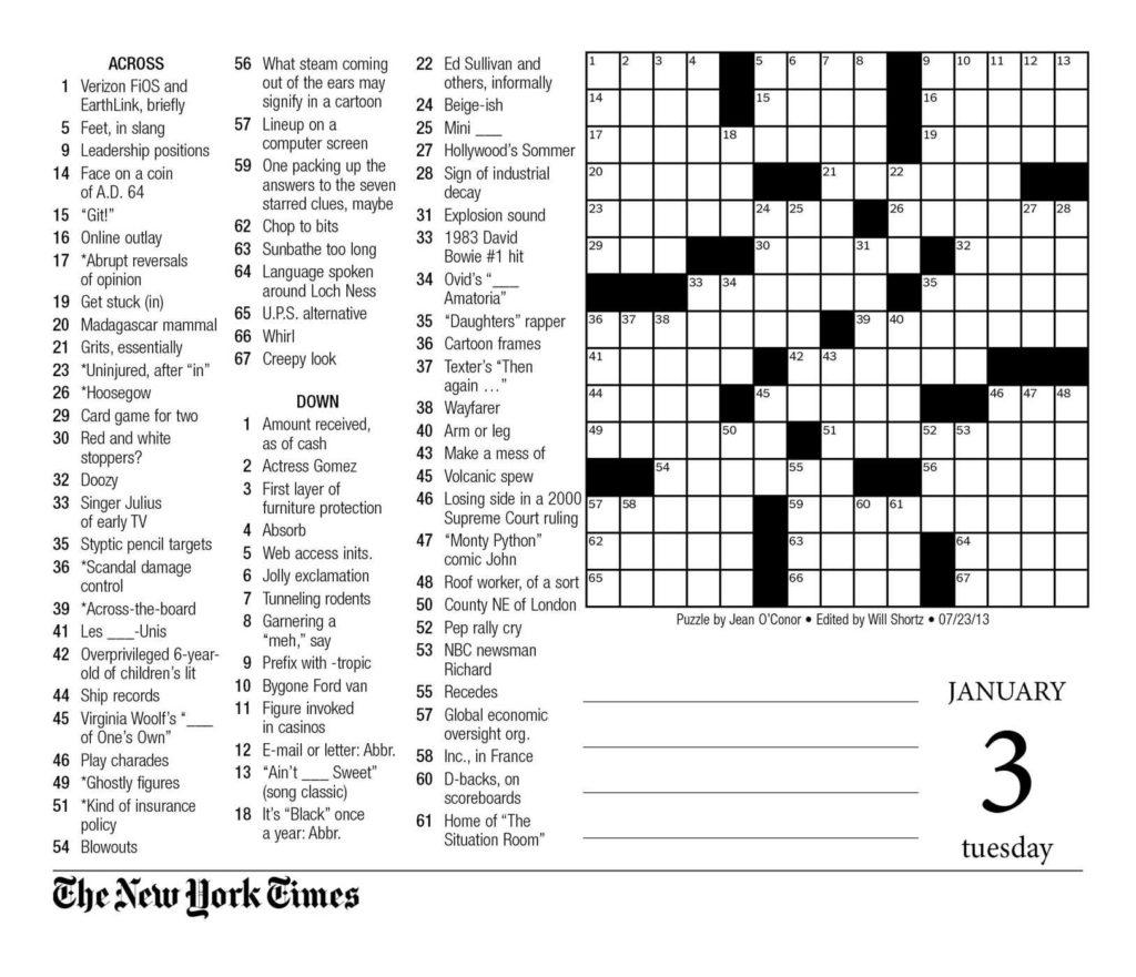 Printable Sunday Crossword Puzzles New York Times