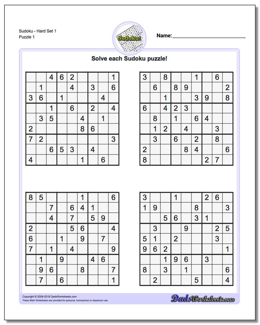 100 Free Printable Sudoku Puzzles