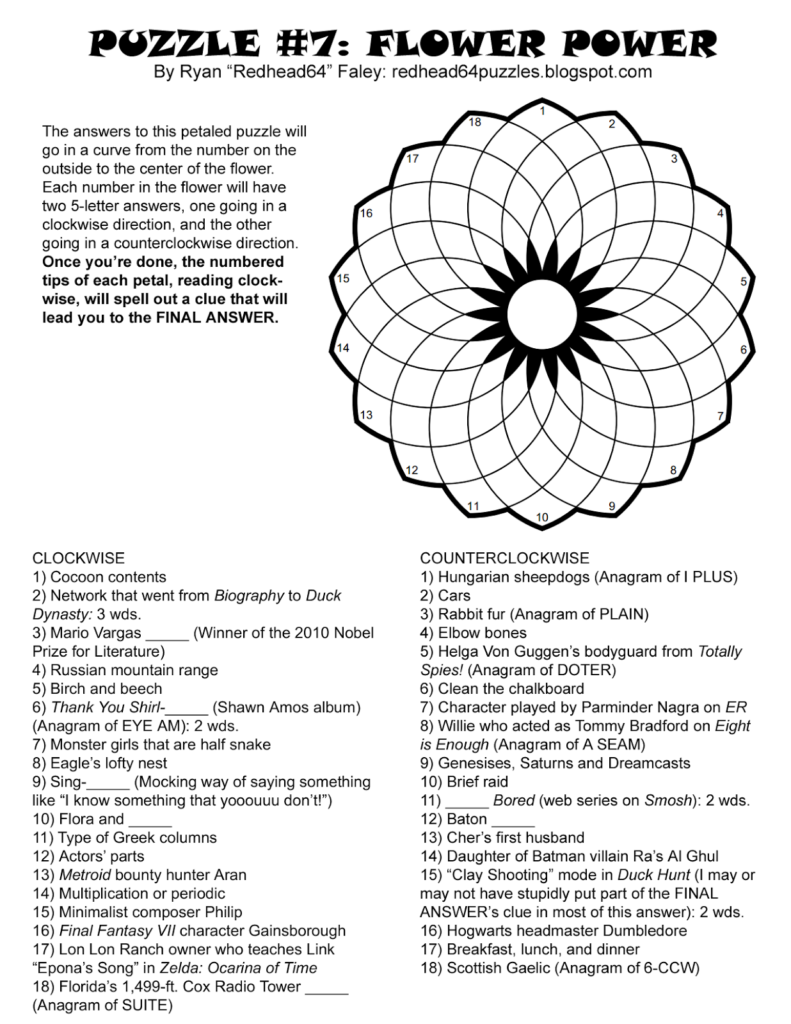 Redhead64 S Obscure Puzzle Blog EASY VERSION Flower Power