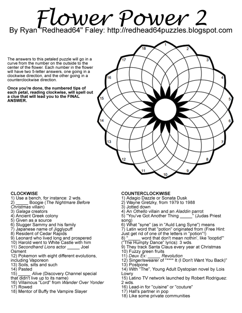Redhead64 S Obscure Puzzle Blog PUZZLE 36 Flower Power 2