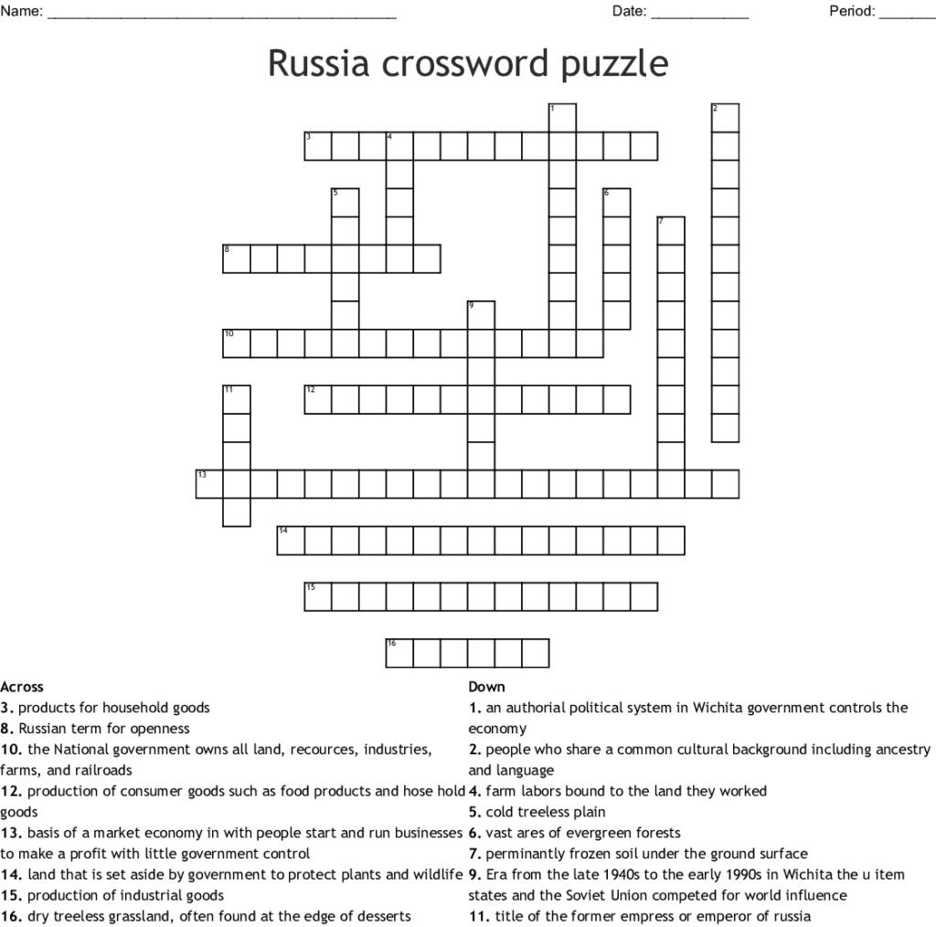 Russian Crossword Puzzle WordMint