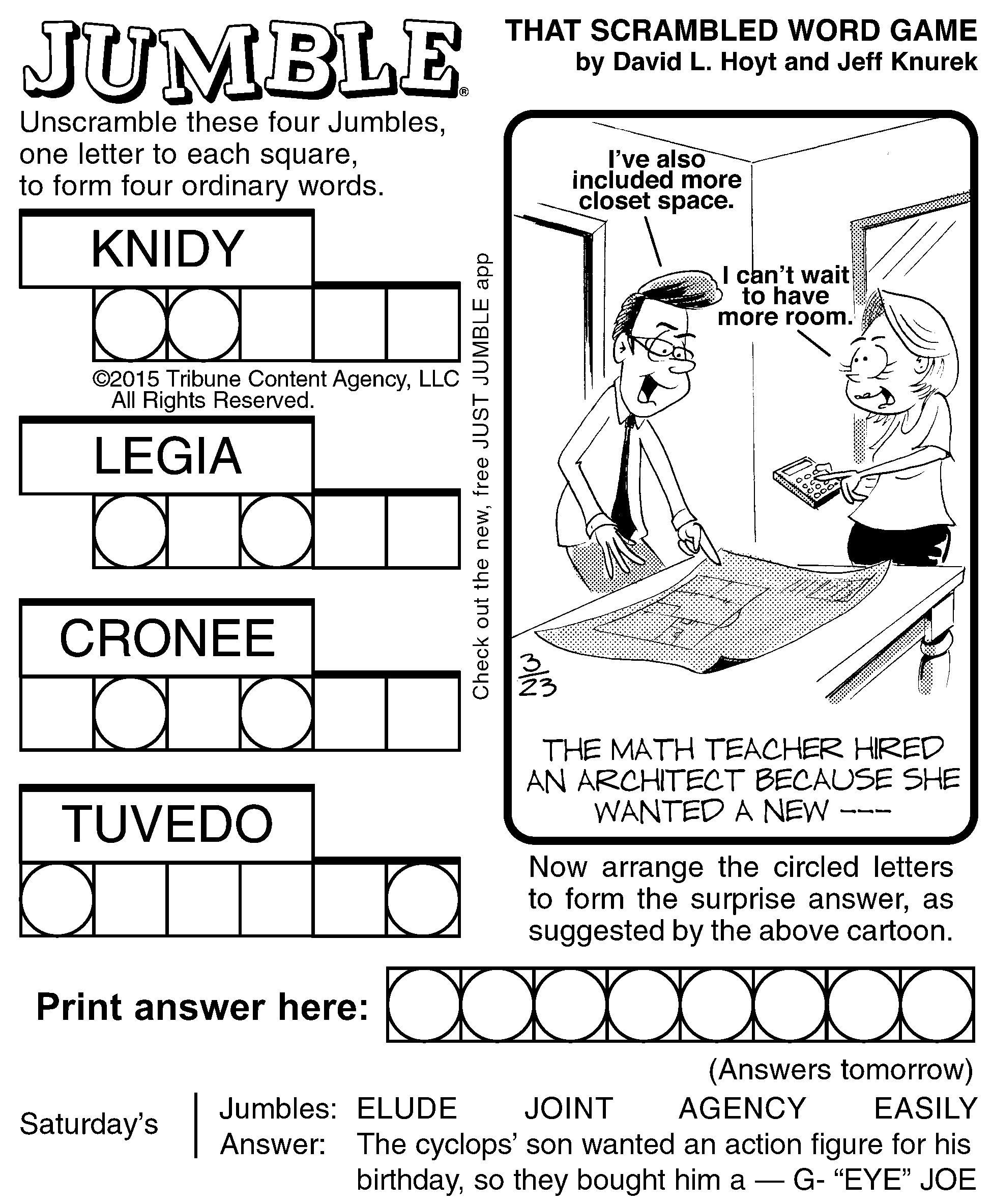 Free Daily Printable Jumble Puzzles