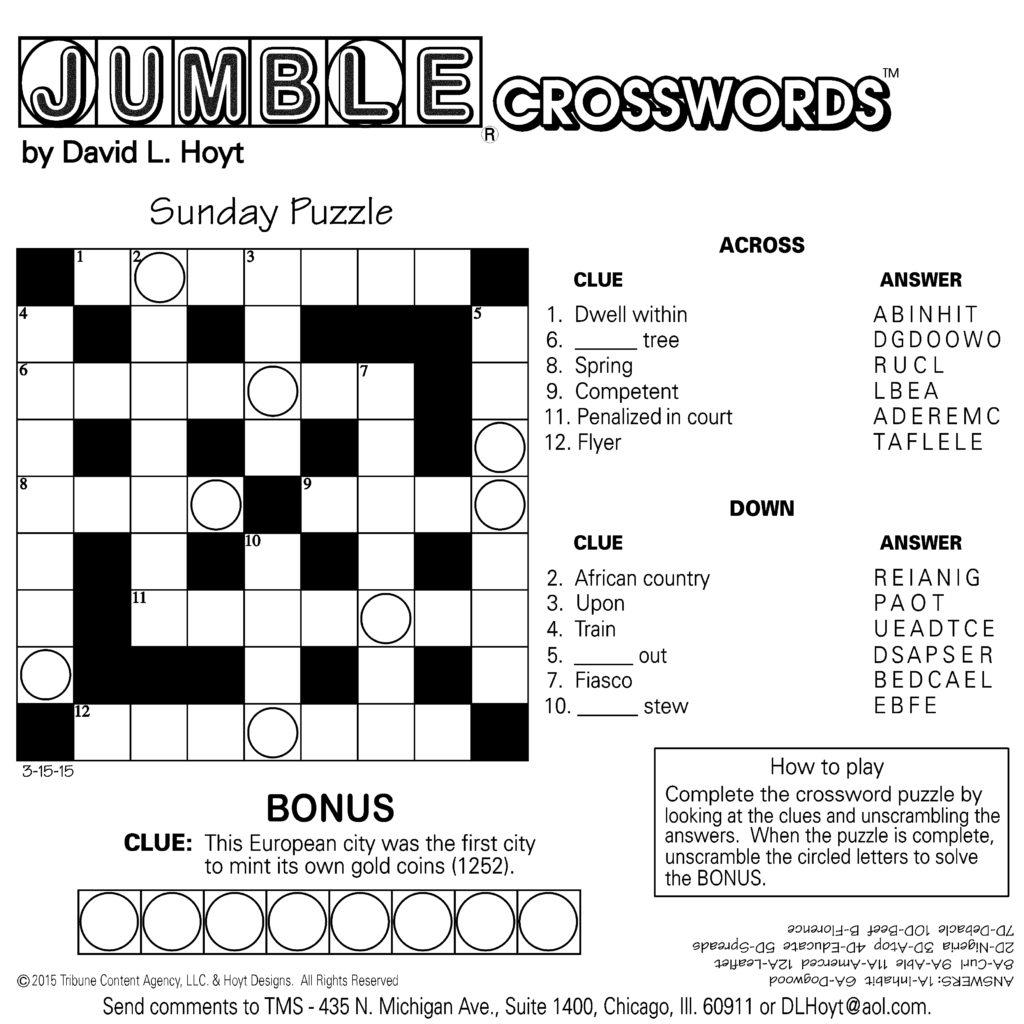 Sample Of Square Sunday Jumble Crosswords Tribune