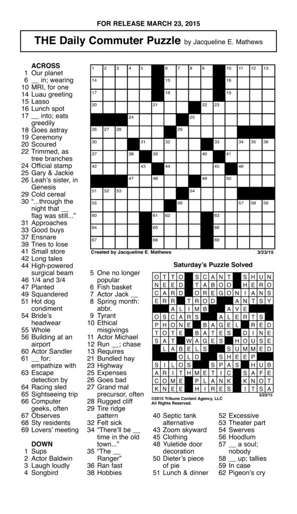 Sample Of THE Daily Commuter Puzzle Tribune Content