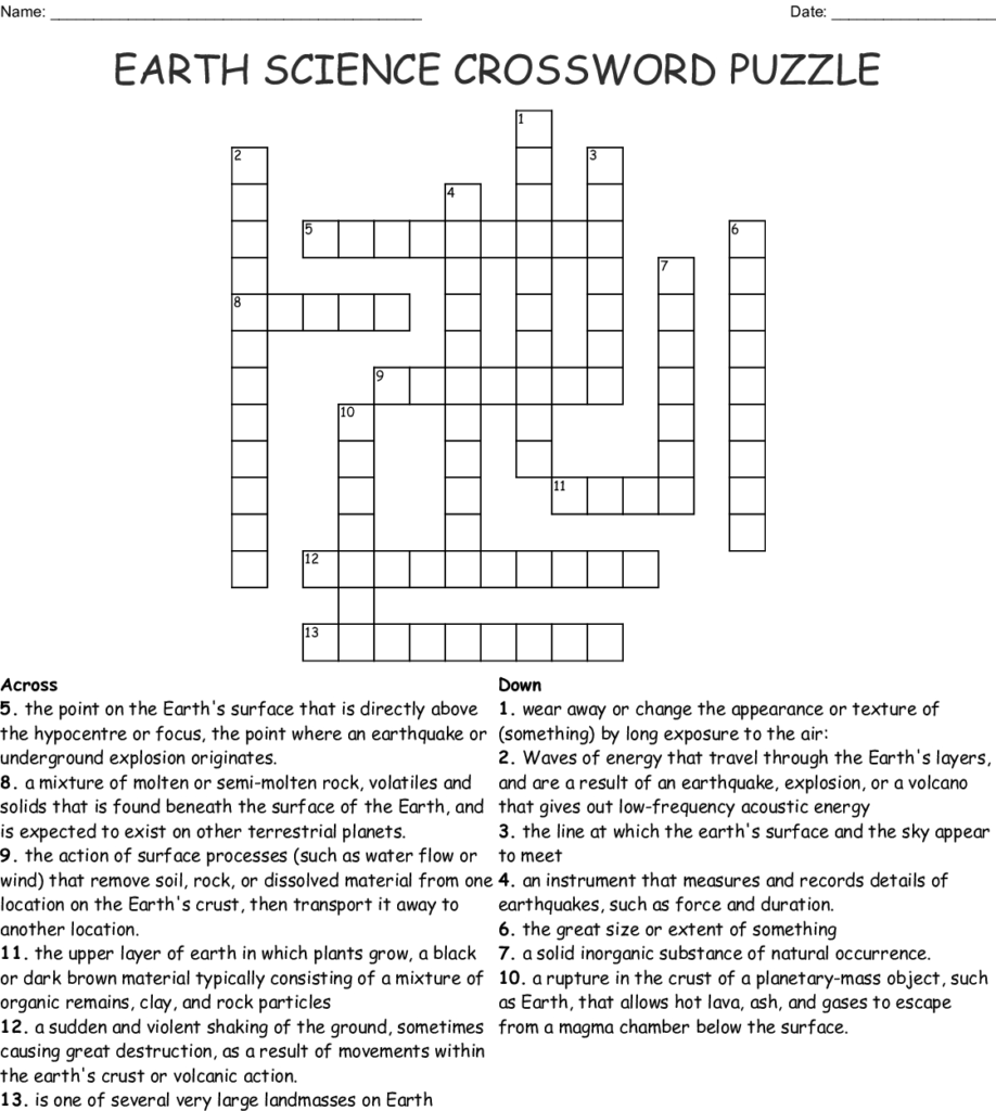 Science Crossword Puzzles Printable With Answers