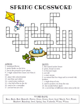Spring Crossword Puzzle Free Printable