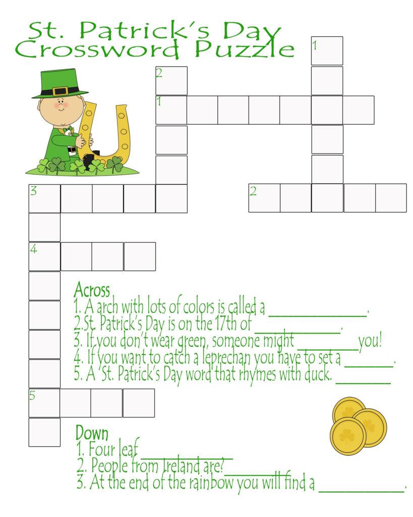St Patrick S Day Crossword Puzzle Printable St Patrick