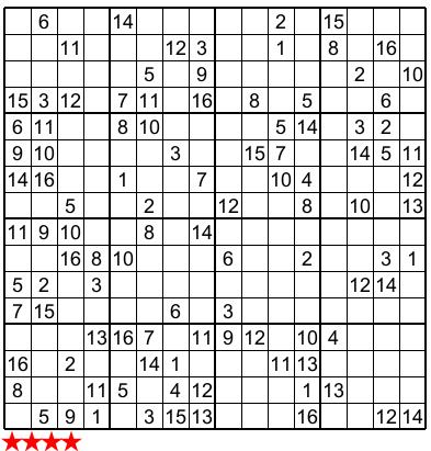 Free Printable 16x16 Sudoku Puzzles
