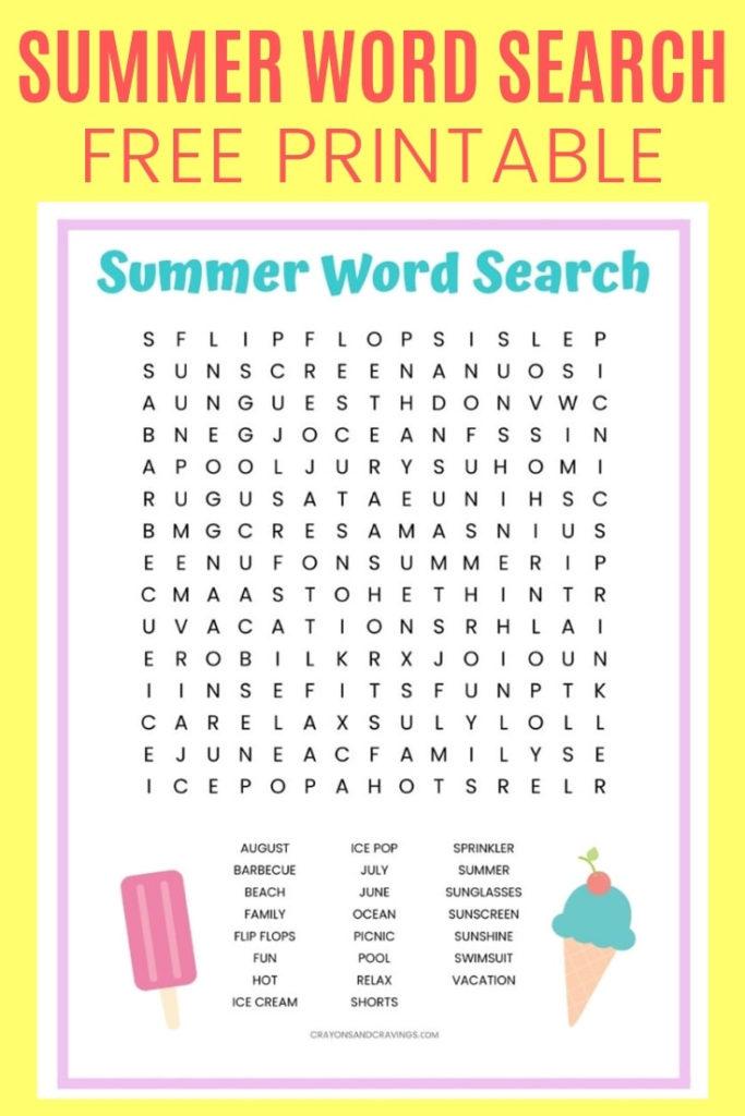 Summer Word Search FREE Printable Worksheet For Kids
