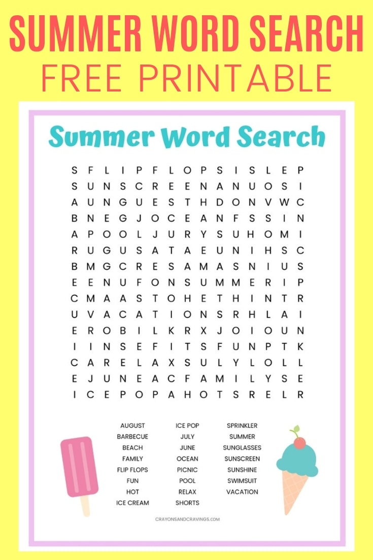 Free Printable Summer Word Search Puzzles