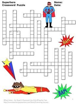 Free Printable Superhero Crosswords