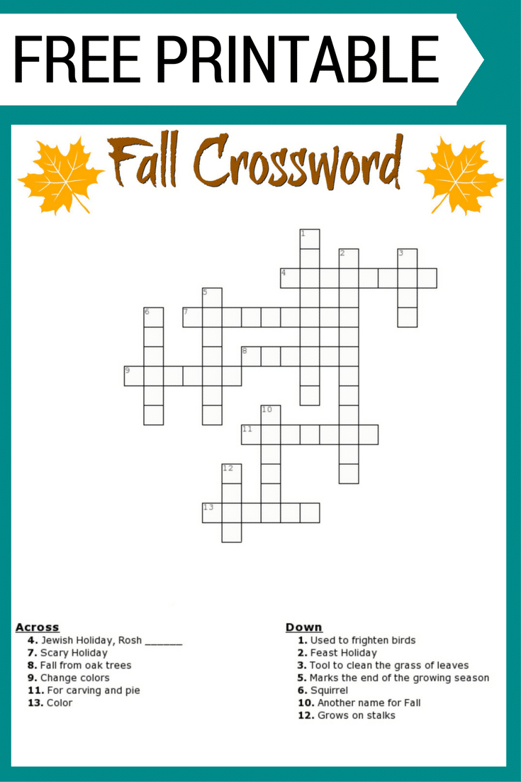 Free Printable Fall Crossword Puzzles