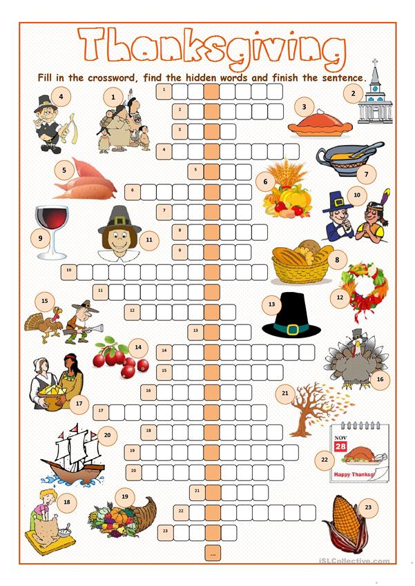 Free Printable Thanksgiving Crossword Puzzles