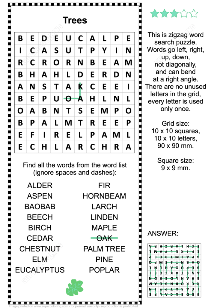 Trees Zigzag Word Search Puzzle Free Printable Puzzle Games