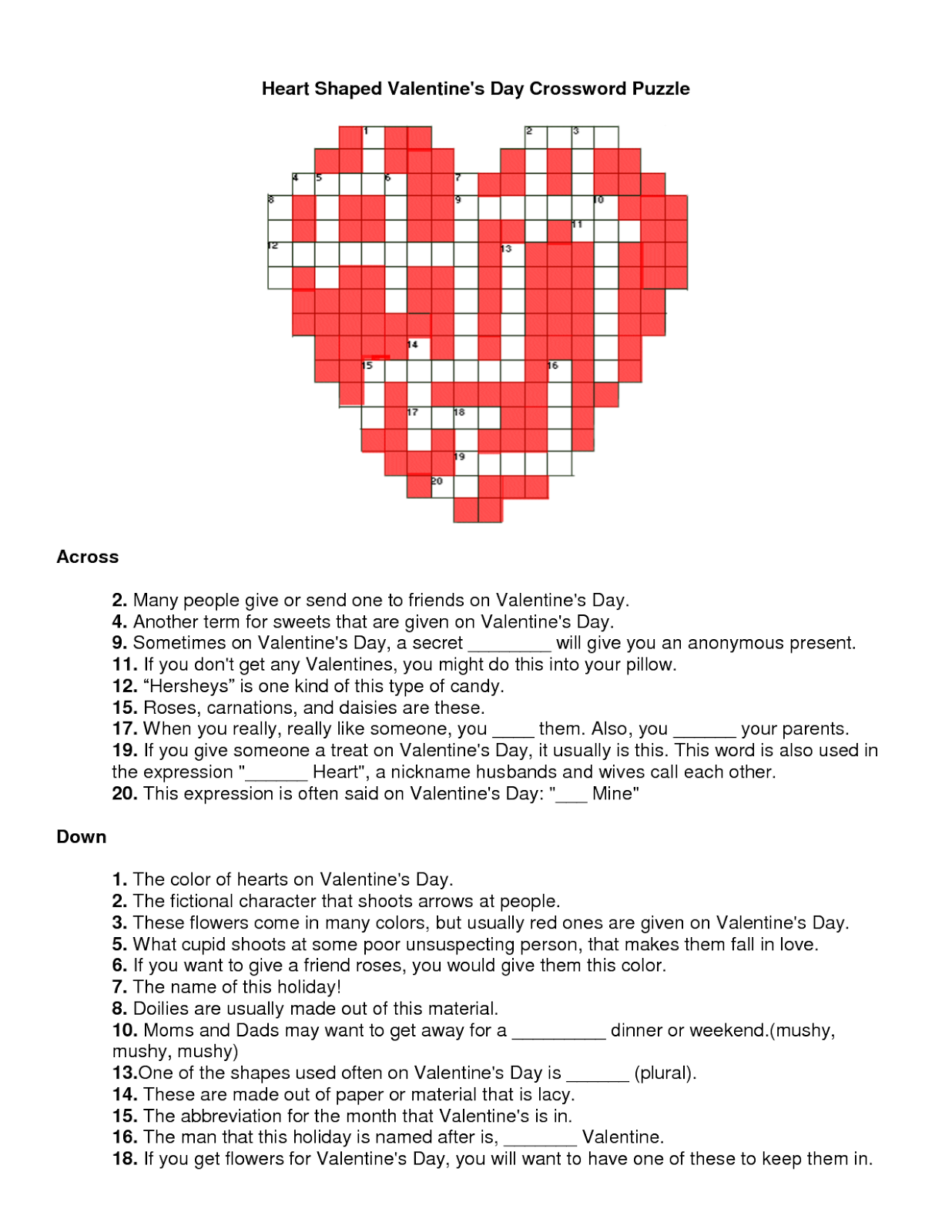 Free Printable Valentine's Day Crossword Puzzles