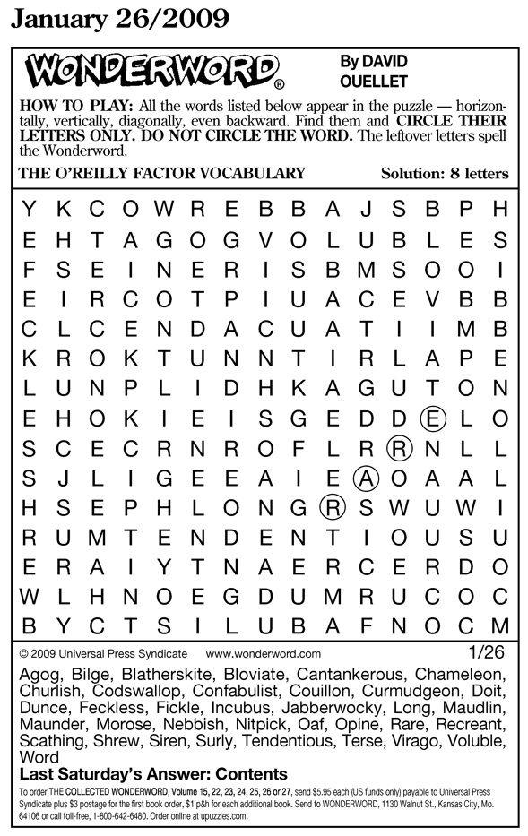 Free Printable Wonderword Puzzles Online