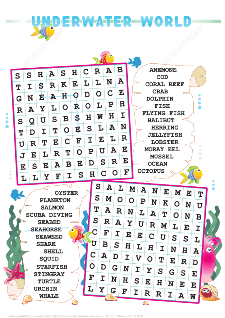 Zigzag Word Search Puzzle With Underwater World Free