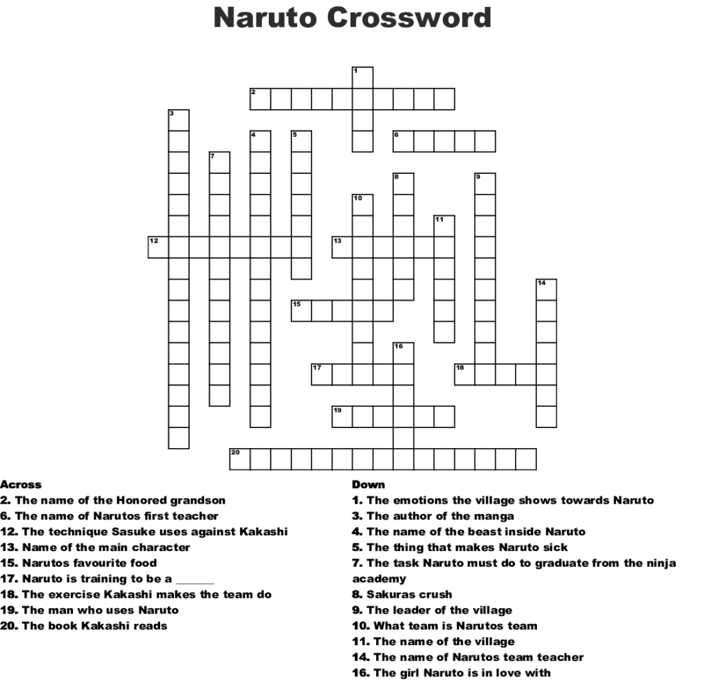 All Categories Dnseven Printable Naruto Crossword