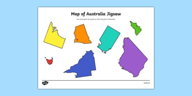 Australia Map Jigsaw Puzzle Printable