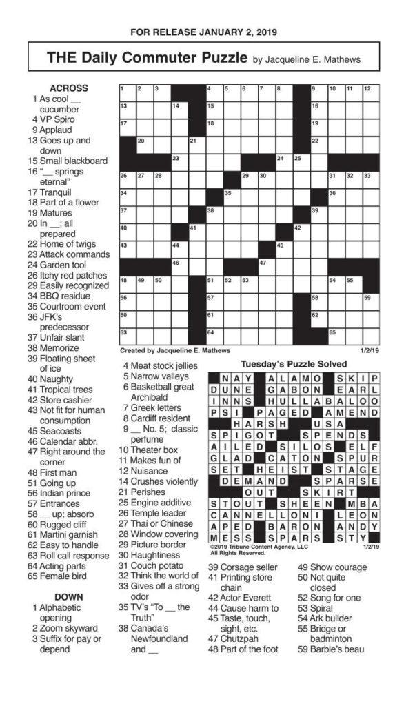 Crosswords January 2 2019 Crosswords Redandblack