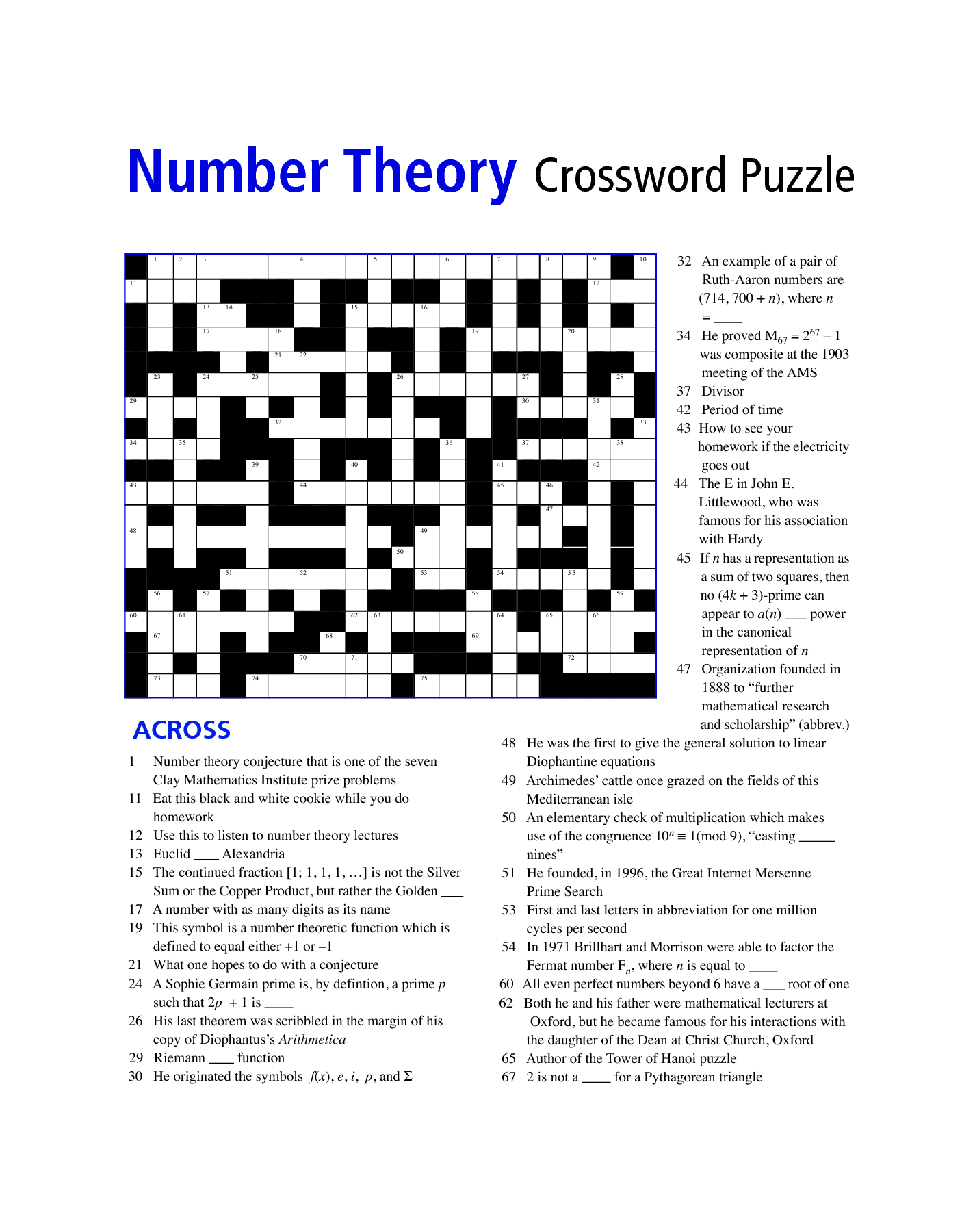 Free Printable Math Puzzles For Middle School