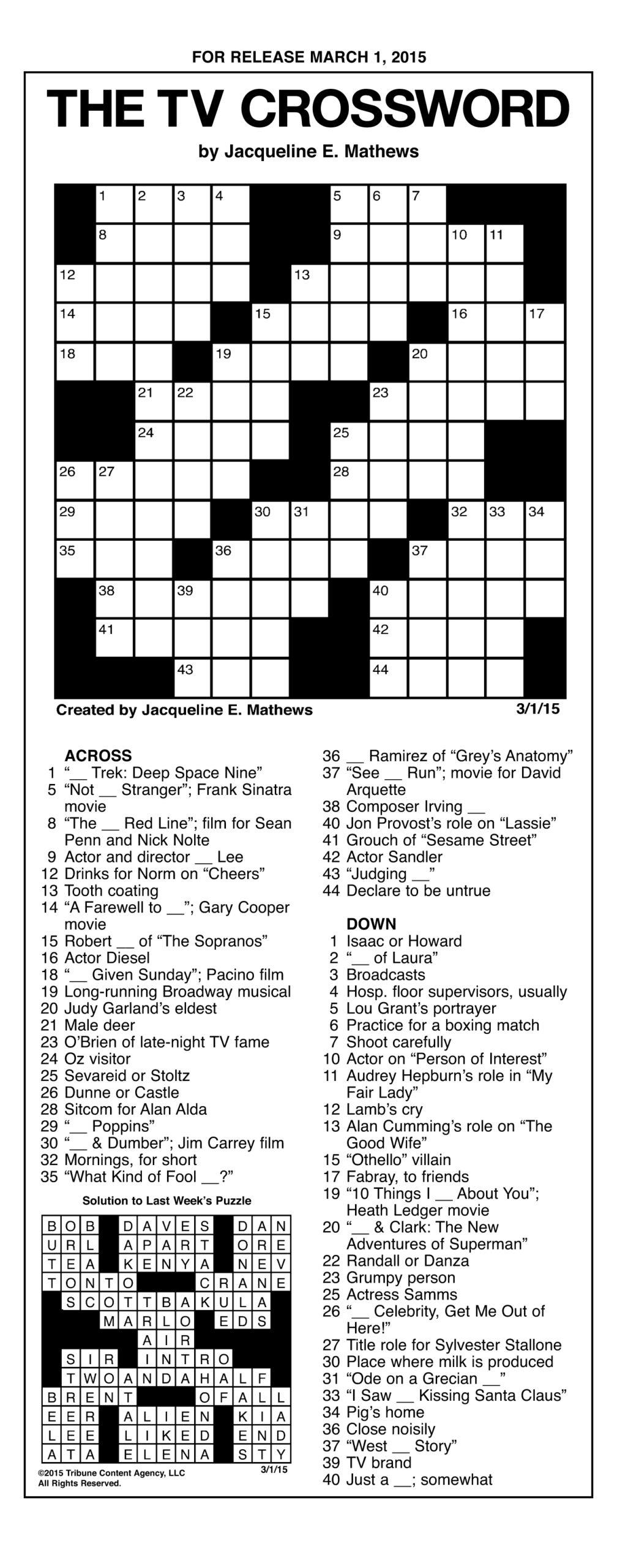 Printable Tv Crossword Puzzles