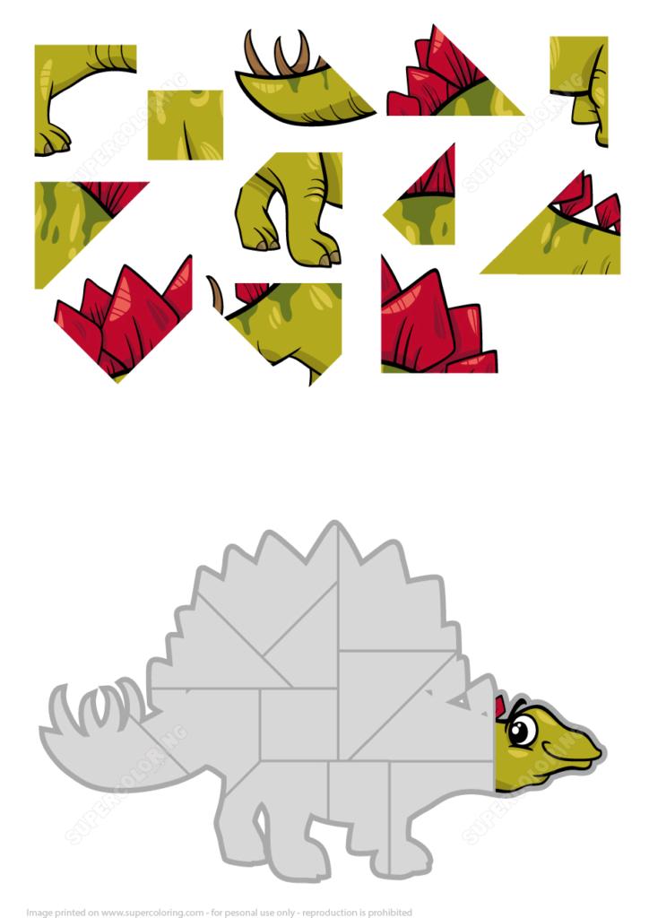 Jigsaw Puzzle With Stegosaurus Dinosaur Free Printable